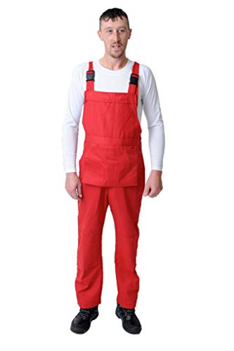 Bib and Brace Dungaree Overalls Painters Suit For Decorators Builders, Red, X Large - 42 from Road Master