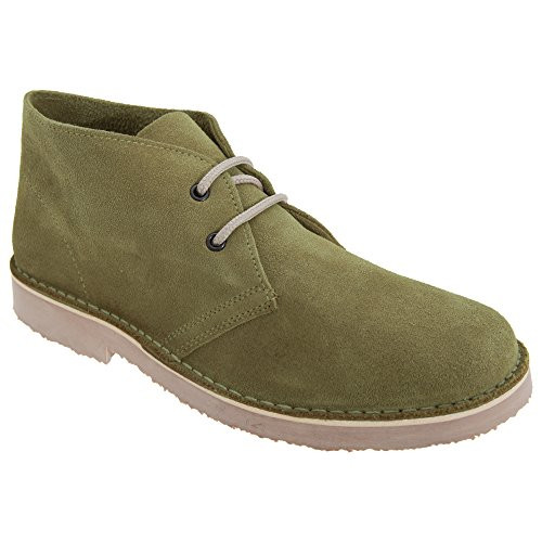 Roamers Mens Real Suede Round Toe Unlined Desert Boots (9 UK) (Khaki) from Roamer