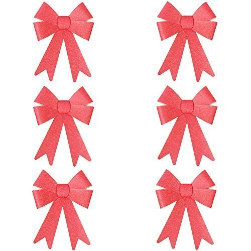Robelli Christmas Glitter Bow Decorations - Pre-tied For Tree/Gifts/Table - 6 x S (Red) from Robelli