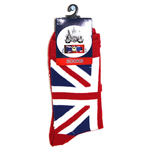 Men's Union Jack Socks Size 6-11 UK (Red, Blue or Black) (Red)(Size: One Size) from Robelli