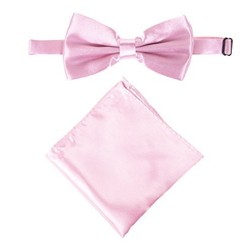 Men's or Boy's Stylish Satin Bow Tie & Pocket Handkerchief Set (Baby Pink) from Robelli