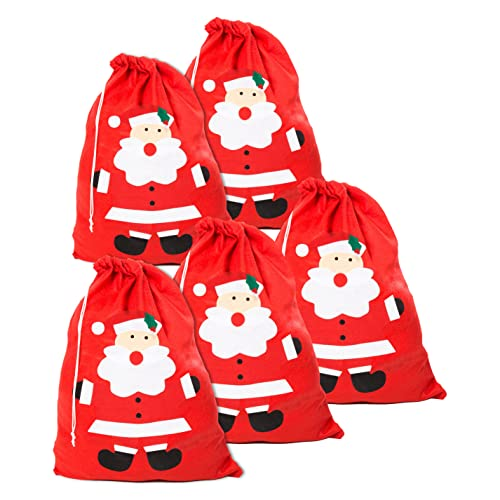 Pack of 5 Cute Santa Face Red Gift / Present Sacks from Robelli
