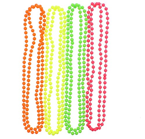 Set of 4 Multicolour Neon Fluorescent 80's Rave Bead Necklaces from Robelli