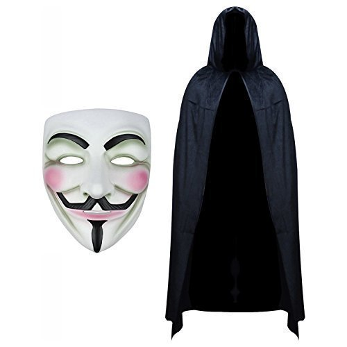Anonymous Mask and Hooded Cape Fancy Dress Set from Robelli