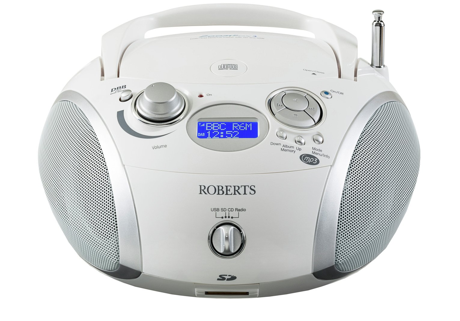 Roberts ZoomBox 3 Boombox - White from Roberts