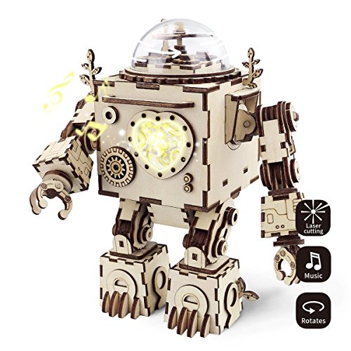 Robotime 3D Jigsaw Construction Set DIY Model Build Kit 3D Laser Cut Woodcraft Model Making Music Box Puzzle Challenge Gift Set for Adult and Teens (Orpheus) from Robotime