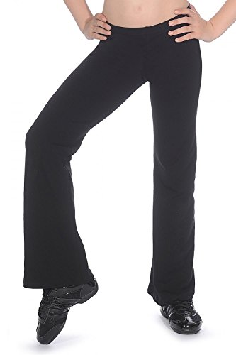 Roch Valley Bootleg Jazz Pants Slim Fit Cotton Lycra Black Dance Gym Fitness (Age 11-13 (145-152cm) Size 3A) from Roch Valley