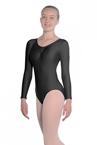 Roch Valley Women's Martene Long Sleeve Nylon/Lycra Leotard, Black, Age 7-8 from Roch Valley