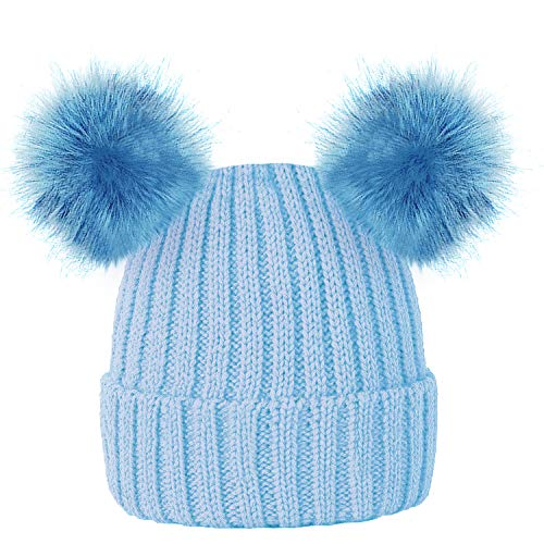 9eec1e131cf ROCKJOCK Kids Girls Colourful Warm Winter Knitted Beanie Hat with Twin Faux  Fur Pom Pom from