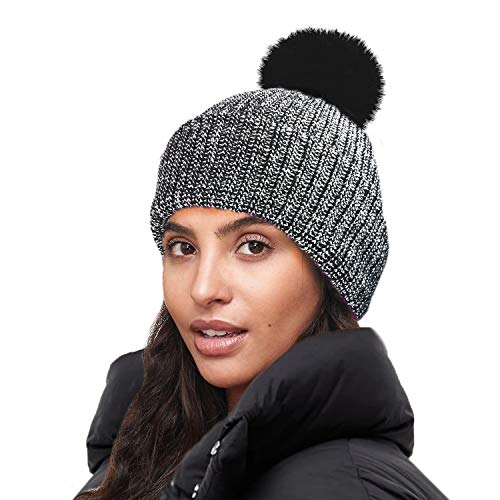 RockJock Ladies Marl Chunky Knit Bobble Hat with Fleece Thinsulate  Lining-Black from RockJock 850d7f754fa4