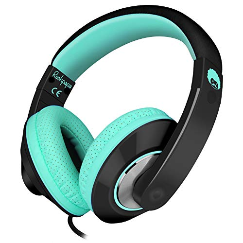 Rockpapa Comfort+ Adjustable Over Ear Headphones Headsets with Microphone In-line Volume for Adults Kids Childs Teens, SmartPhones Laptops DVD MP3/4 Surface iPhone iPod iPad Macbook Black Teal from Rockpapa