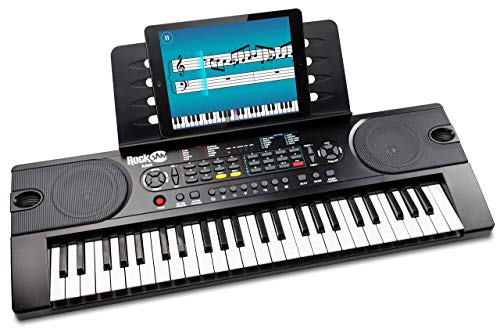 RockJam 49-Key Portable Digital Piano Keyboard with Music Stand, Power Supply and Note Key Stickers from Rockjam