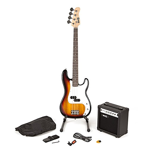 RockJam Full Size Bass Guitar Super Kit with Amp, Tuner, Stand, Travel Bag and Accessories - Sunburst from Rockjam