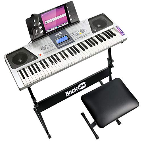 RockJam RJ661 61 Key Electronic Interactive Teaching Piano Keyboard with Stand, Stool and Headphones from Rockjam