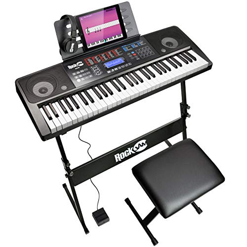 RockJam RJ761-SK Key Electronic Interactive Teaching Piano Keyboard with Stand, Stool, Sustain pedal & Headphones from Rockjam