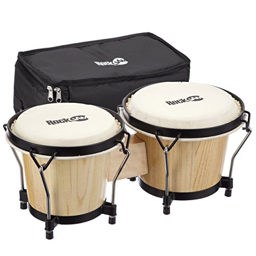 "RockJam 7"" and 8"" Bongo Set with Padded Bag & Tuning Wrench - Natural from Rockjam"