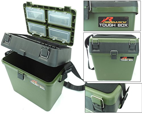 Fishing Tackle Seat Box Includes Padded Strap & Seat Pad Very Strong Freepost from Roddarch