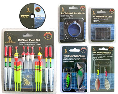 Fishing Tackle Set. Floats Weights Hooks Plugs Lures Spinners & Line. from Roddarch