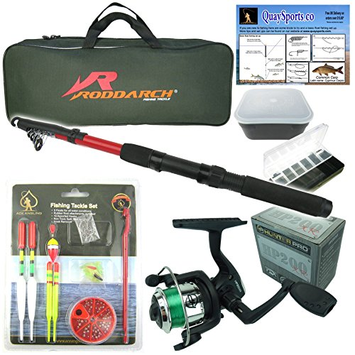 Roddarch Junior beginners Fishing Kit Set. Novice Starter fishing set includes Rod & Reel, Tackle, Bait Box, Tackle Box & Storage Bag reg; Quality Brand from Roddarch