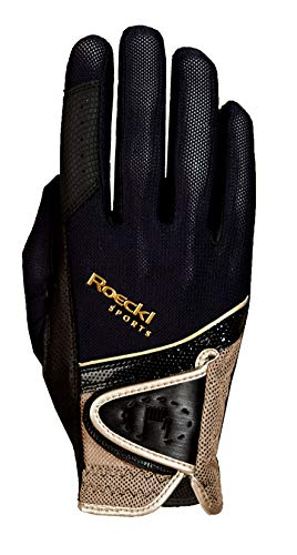 Roeckl Lace Riding Gloves: Black/Gold: 7 from Roeckl