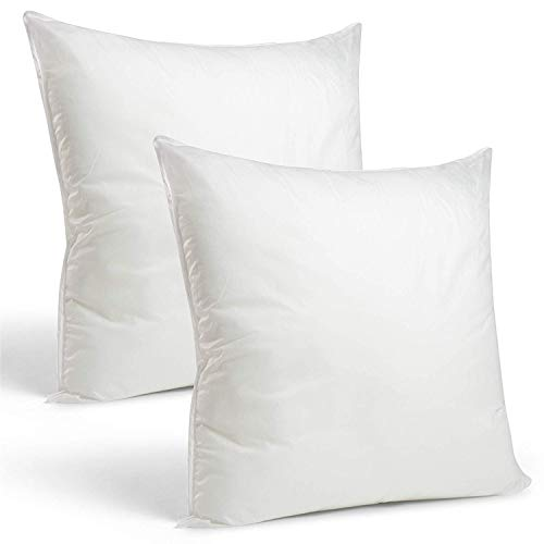 "Rohi Set of 2 35cm x 35cm Hypoallergenic Cushion Pad Stuffer Pillow Insert Sham Square Polyester, Standard/White – MADE IN UK (Pack of 2 | 14"" x 14"") from Rohi"
