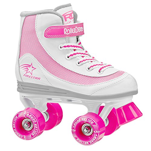 Roller Derby 1978-13 Youth Girls Firestar Roller Skate, Size 12, White/Pink from Roller Derby