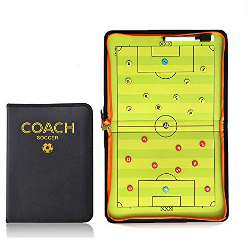 Accessories Coaches' & Referees' Gear SODIAL Portable Trainning Assisitant Equipments Football Soccer Tactical Board 2.5 Fold Leather Useful Teaching Board