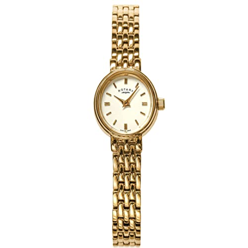 Rotary Women's Quartz Watch with White Dial Analogue Display and Gold Stainless Steel Bracelet LB02084/02 from Rotary