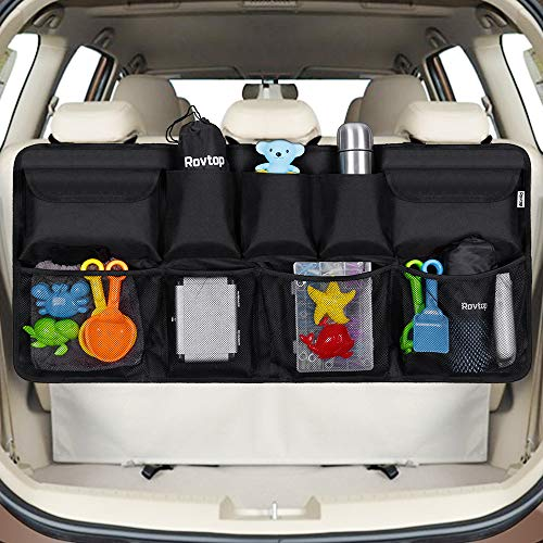 Rovtop Car Back Seat Organizer with 9 Pockets Backseat Organizer, Back Seat Storage Organizer for SUV Truck Van, Car Boot Tidy Organiser Magic Sticker for Space Saving Black from Rovtop