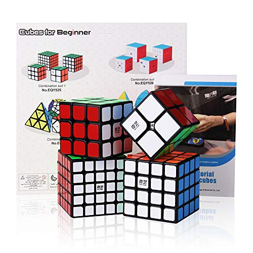 Roxenda Speed Cube Bundle, Magic Cube Set of 2x2x2 3x3x3 4x4x4 5x5x5 Speed Puzzle Cube with Gift Box, Secret Tutorial for Speed Cubes from Roxenda