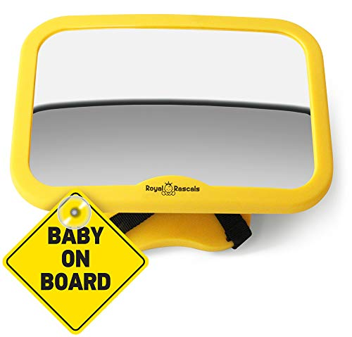 ROYAL RASCALS Baby Car Mirror | #1 SAFEST rear view mirror for rearward facing child seat | SAFETY YELLOW | Fits any adjustable headrest | Tilt and turn function | 100% shatterproof | PREMIUM SAFETY PRODUCT from Royal Rascals