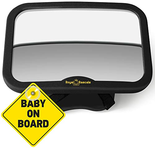 ROYAL RASCALS Baby Car Mirror for Back Seat - Black Frame - Safest Shatterproof Baby Mirror for Car - Rear View Baby Car Seat Mirror to See Rear Facing Infants and Babies from Royal Rascals