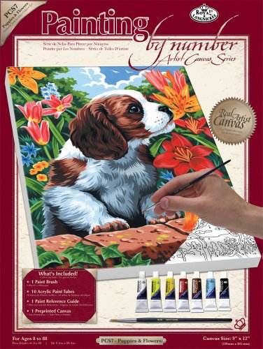 Royal & Langnickel Painting by Numbers Artist Canvas Series Puppy and Flowers Small Designed Painting Set from Royal & Langnickel