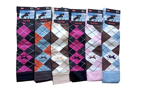 6 Pairs Women's / Ladies knee High Horse Design Argyle Rich Cotton Equestrian Riding Boot Socks,Christmas Gift Socks,Uk Size 4-7 from Rozgul