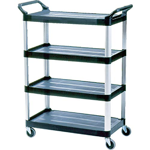 Rubbermaid Commercial HDPE 51x40 5/8x20 inch 300lb 4 Shelve Service Cart - Black from Rubbermaid Commercial Products