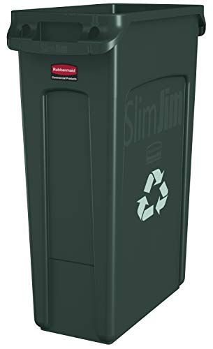 Rubbermaid Commercial Vented Slim Jim Recycling Bin Waste Receptacle, 87 Litres, Green, Plastic, FG354007GRN from Rubbermaid