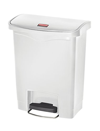 Rubbermaid Slim Jim 1883555 30 Litre Front Step Step-On Resin Wastebasket - White from Rubbermaid