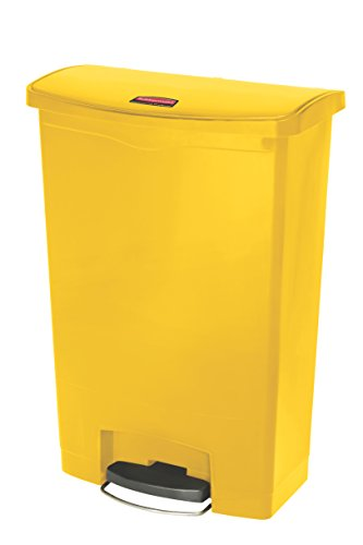 Rubbermaid Slim Jim 1883579 90 Litre Front Step Step-On Resin Wastebasket - Yellow from Rubbermaid