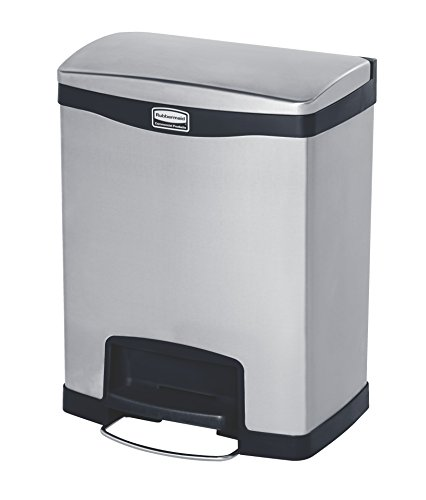 Rubbermaid Slim Jim 1901987 30 Litre Front Step Step-On Stainless Steel Wastebasket with Dual Liner - Black from Rubbermaid