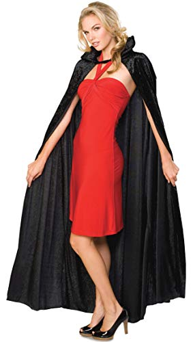 Rubie's Official Adult's Halloween Long Crushed Velvet Cape Costume - Black, One Size from Rubie´s