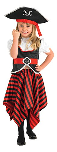 Rubie's 883620L Official Toddler Girl's Generic Little Lass Pirate Costume, Multi-Colour, 7-8 Years from Rubie's