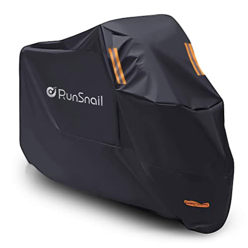 Motorcycle Cover Waterproof Outdoor, Motorbike Scooter Cover Oxford with Lock Holes, PU coating, Elastic Hems and Storm Straps - XL from RunSnail