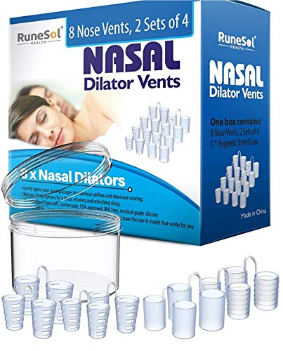 Anti Snoring Devices - Nasal Dilator (8) Stop snoring Aids | Sleep Apnea Relief and Aids Nasal Congestion | Nose Vents and Snore Stoppers | Dilators - Anti Snoring solution & Sleep Apnea Relief from RuneSol