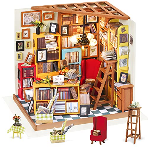 ROLIFE Miniature Dollhouse Kit DIY Wooden Library House Model for Girls and Boys-Top Gifts For Kids 14 15 16 17 Year Old Up from Rolife