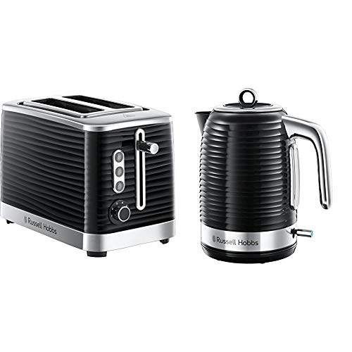 Russell Hobbs 24371 Inspire High Gloss Plastic Two Slice Toaster, Black with Kettle from Russell Hobbs