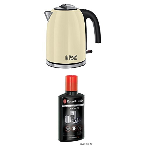 Russell Hobbs Colour Plus Kettle 20415, 3000 W, 1.7 Litre - Cream with Descaler 21220, 250 ml from Russell Hobbs