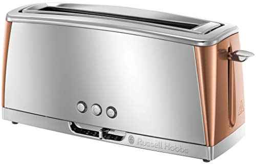 Russell Hobbs Luna Long Slot Toaster, Long Slice or Two Slice Stainless Steel Toaster with Copper Accents and Fast Toasting Technology, 24310 from Russell Hobbs
