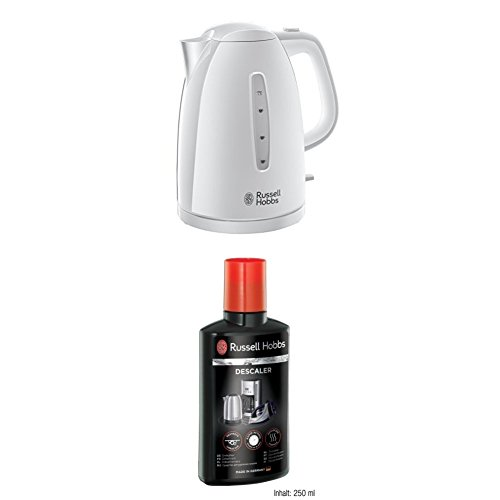 Russell Hobbs Textures Plastic Kettle 21270, 1.7 Litre, 3000 W - White with Descaler 21220, 250 ml from Russell Hobbs
