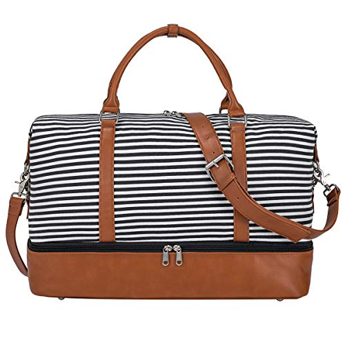 S-ZONE Ladies Women Canvas PU Leather Trim Strap Travel Weekender Overnight Carry-on Shoulder Duffel Tote Bag from S-ZONE