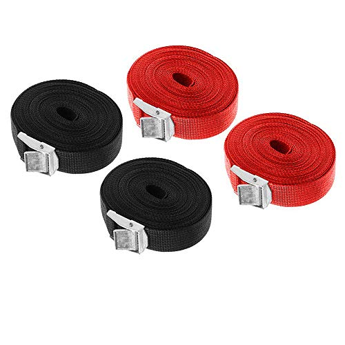 Lashing Strap SAIYU Adjustable Ratchet Tie Down Straps Heavy Duty Tension Belts Cargo Straps with Quick Release Cam for Trucks Bicycle Boat Car Luggage Strap (Red and Black, 4 Pack, 5M*25mm) from SAIYU